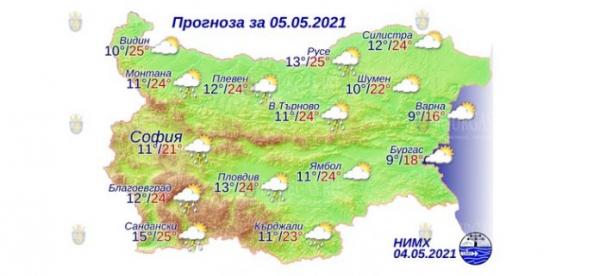 5 мая в Болгарии — днем +25°С, в Причерноморье +18°С