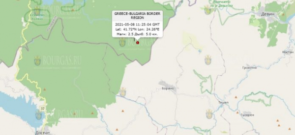 8 мая 2021 года на Юге Болгарии произошло землетрясение