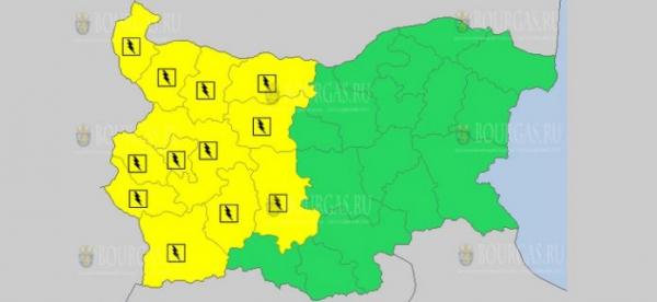 12-го мая в Болгарии объявлен Желтый код опасности