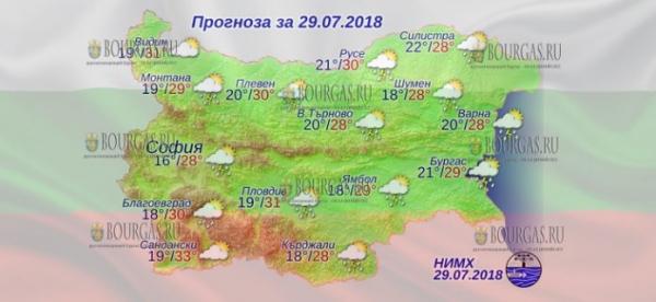 30 июля в Болгарии — на всей территории дожди и грозы, днем +33°С, в Причерноморье +29°С