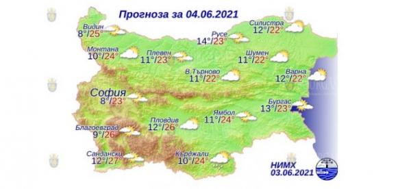 4 июня в Болгарии — днем +27°С, в Причерноморье +23°С