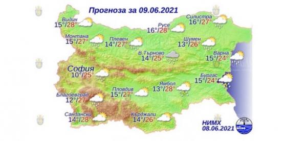 9 июня в Болгарии — днем +28°С, в Причерноморье +24°С