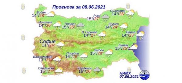 8 июня в Болгарии — днем +28°С, в Причерноморье +25°С