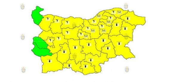 1-го июля во всей Болгарии объявлен Желтый код опасности