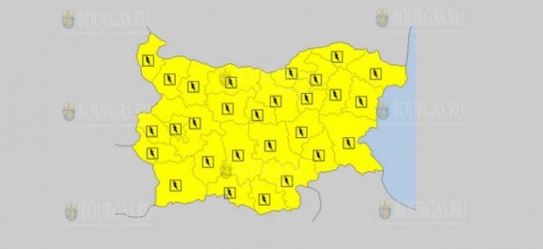 12-го июня в Болгарии объявлен Желтый код опасности