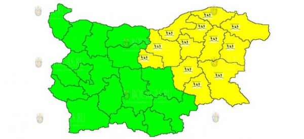 18-го июня в Болгарии объявлен Желтый код опасности