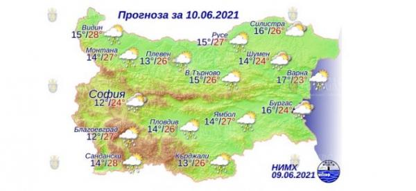 10 июня в Болгарии — днем +28°С, в Причерноморье +24°С