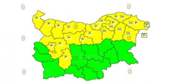 13-го июня в Болгарии объявлен Желтый код опасности