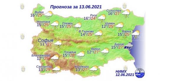 13 июня в Болгарии — днем +29°С, в Причерноморье +27°С.