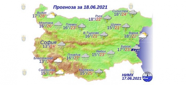 18 июня в Болгарии — днем +29°С, в Причерноморье +23°С