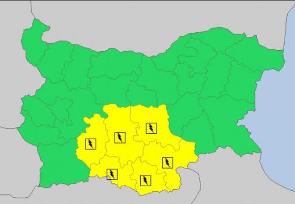 29 августа в Болгарии — дождливый и грозовой Желтый код опасности
