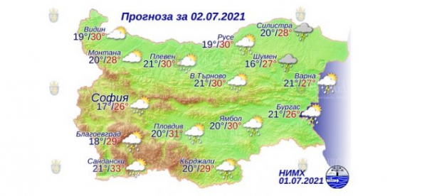 2 июля в Болгарии — днем +33°С, в Причерноморье +27°С
