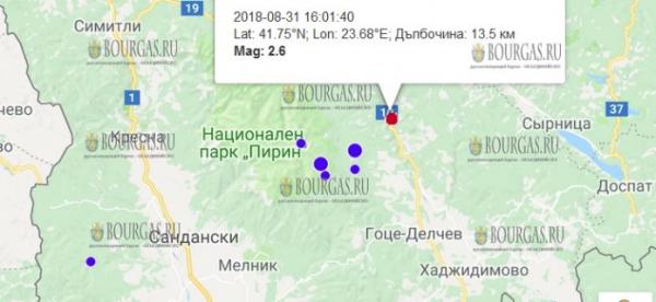 31 августа 2018 года в Болгарии произошло слабое землетрясение