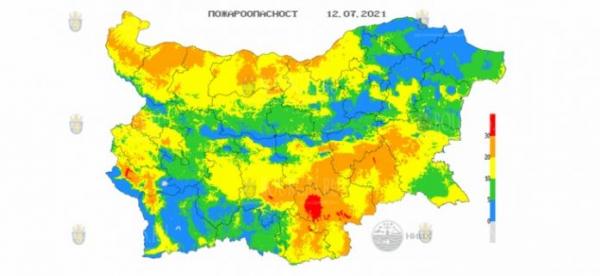 12-го июня в 6 областях Болгарии объявлен Красный код пожароопасности