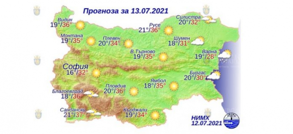 13 июля в Болгарии — днем +37°С, в Причерноморье +30°С