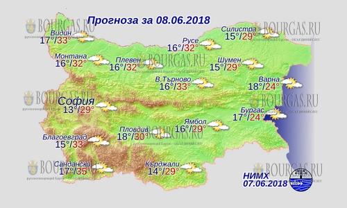 8 июня в Болгарии — непогода отступила, днем +35°С, в Причерноморье +24°С
