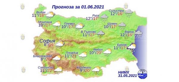 1 июня в Болгарии — днем +22°С, в Причерноморье +17°С