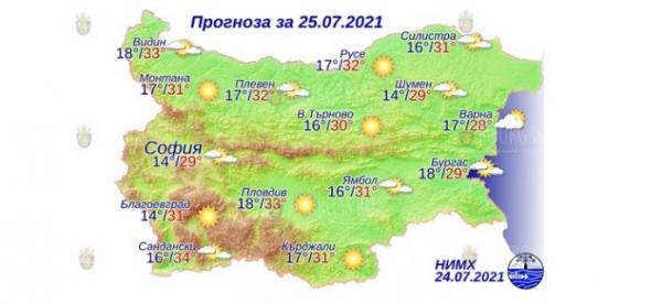 25 июля в Болгарии — днем +34°С, в Причерноморье +29°С