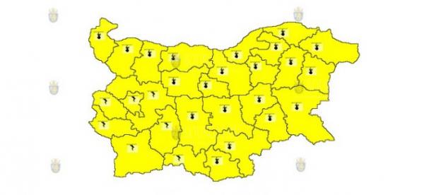 28-го июля в Болгарии объявлен Желтый код опасности