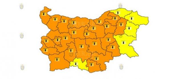 30-го июля в Болгарии объявлен Оранжевый и Желтый коды опасности