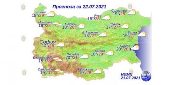 22 июля в Болгарии — днем +31°С, в Причерноморье +28°С