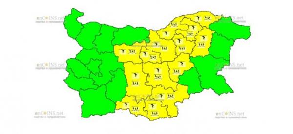 27-го июня в Центре Болгарии объявлен Желтый код опасности