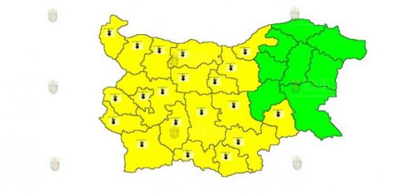 14-го июля в Болгарии объявлен Желтый код опасности