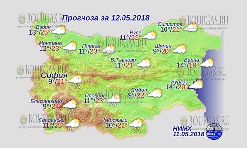 12 мая в Болгарии — дожди в центре и на западе, днем +25°С, в Причерноморье +20°С