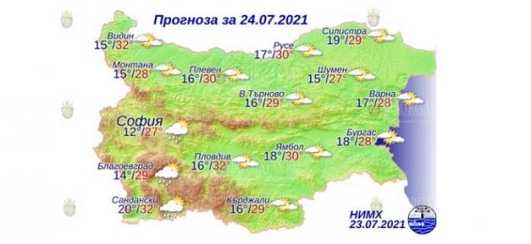 24 июля в Болгарии — днем +32°С, в Причерноморье +28°С