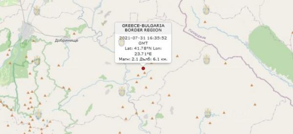 31 июля 2021 года в Болгарии произошло землетрясение