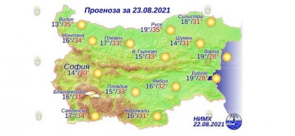 23 августа в Болгарии — днем +35°С, в Причерноморье +28°С