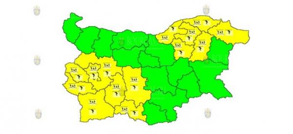 18 августа в Болгарии объявлен Желтый код опасности