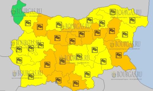 17 марта в Болгарии объявлены ветренный Оранжевый и Желтый коды