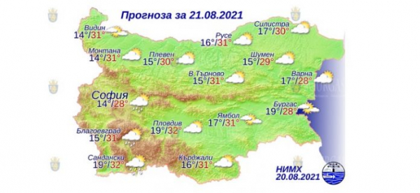 21 августа в Болгарии — днем +32°С, в Причерноморье +28°С
