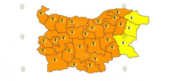 1 августа в Болгарии объявлен Оранжевый и Желтый коды опасности