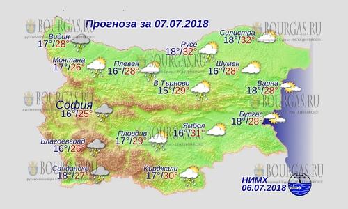 7 июля в Болгарии — днем +32°С, в Причерноморье +28°С