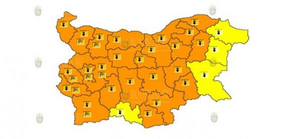 5 августа в Болгарии объявлен Желтый и Оранжевый коды опасности