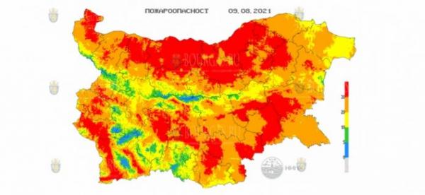 8-го июля в 16 областях Болгарии объявлен Красный код пожароопасности