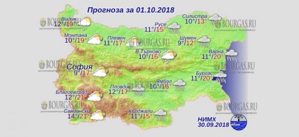 1 октября в Болгарии — днем +21°С, в Причерноморье +20°С